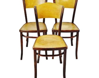Set Of 3 Vintage 1920u0027s Fischel Bentwood Cafe Chairs Thonet Bentwood Style