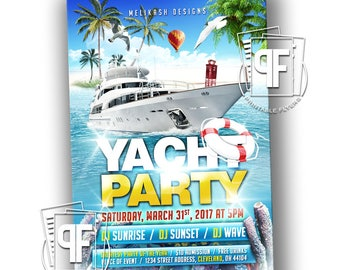 Yacht party invite Etsy