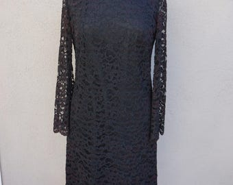 1950s Black Lace Dress, Long Sleeve Dress, Mid Length Dress, Black Dress, Bell Sleeves, 50s Black Dress, Scalloped Dress, Conservative Dress