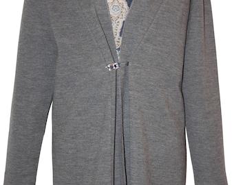 Twin-set women, Cardigan 100% jersey grey, vest wool mousseline arabesque