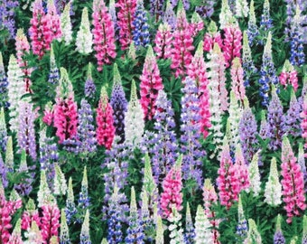 Lupins Floral Cotton Fabric - Elizabeth's Studio - 100% Cotton Fabric realistic flower patterned FQ 1/2 Full Metre