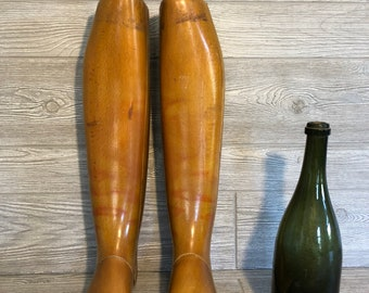 Pair, Antique Wood Boot Lasts. Articulated foot, pull handles and antique markings. Excellent original condition. 2 FEET TALL!