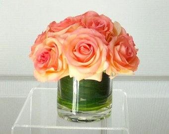 Fall Real Touch Flowers-Fall Arrangement for Table-Fall Décor-Thanksgiving Arrangement-Table centerpiece-Faux Centerpiece-Orange flowers