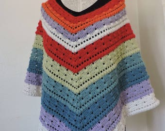 Superfine 100% alpaca multicolor poncho with teeth