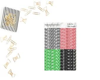 In the Zen Glitter Headers,  planner stickers