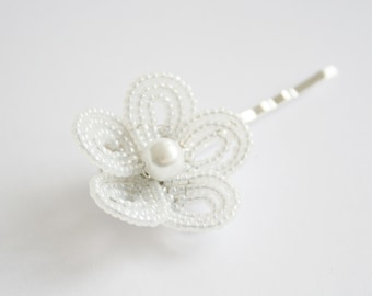 hair accessories for flower girl - white flower hair pins - flower girl - communion hair accessories
