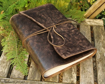 A4, Large, Distressed Leather Journal, Leather Wraparound Journal, Dark Brown Leather, Wrap Notebook, Blank Book, Rustic Wedding Guestbook.
