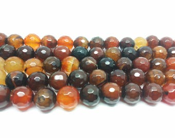Faceted Beads Brown Beads Brown Agate Beads  12mm Beads for Jewelry Making Beads Bracelets Beads Necklace Beads Natural Gemstone Beads