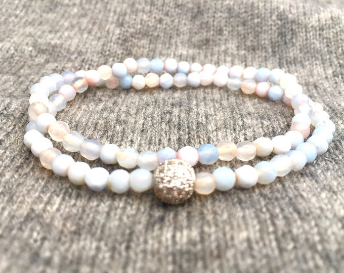 Blue Agate Double Wrap Bracelet- 4mm Blue Agate Bracelet- Blue Beaded Bracelet- Gift For Her- All Ages Girl Gift- Bridal Shower Gift