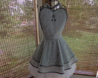Silver and Grey Fleur-de-lis Apron