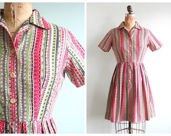 Vintage 1950's Striped Shirt Waist Dress | Size Small