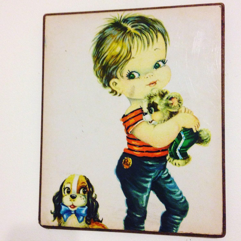 Vintage 50s print, rockabilly art, 50s wall plaque, big eyes print ...