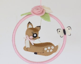 Woodland creatures deer mobile in pastels, pink and mint green with butterfly and pink and cream roses  -available now, ready to ship