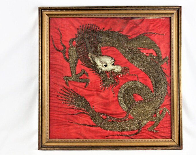 Antique Asian or Persian Dragon Gold Work Stitched Onto Red Silk
