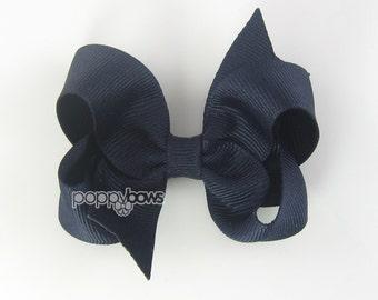 Hair Bow - navy blue hair bow - girls hair bows - toddler hair bows - toddler hairbow - baby hair bow - 3 inch bows - girl bow - boutique