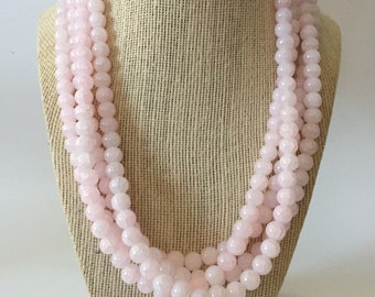 Rose Quartz Chunky Statement Necklace