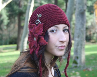 Secret Garden Felted Flower Hat- Red, Maroon, Garnet- All Wool Pixie Hat