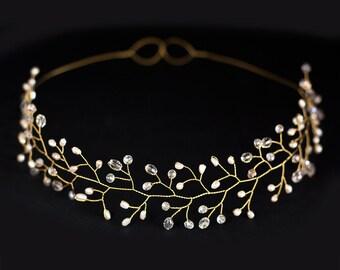 12_Bridal tiara, Wedding tiara, Wedding crown, Gold tiara, Headpiece tiara, Headband Bridal hair Accessories tiara Pearl tiara Gold headband