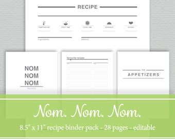 Recipe Book Printables - Editable PDF -  Standard Letter Size - by SassyPlanners