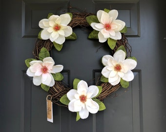 Summer Wreath | Magnolia Wreath | Spring Wreath | Magnolia Flowers |  Everyday Wreath | Wreath for Front Door | Mother's Day Wreath
