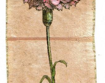 Ink Drawing on teabag 1, flower drawing,teabag art, floral art, carnation, spring floral,botanical, original art, original painting