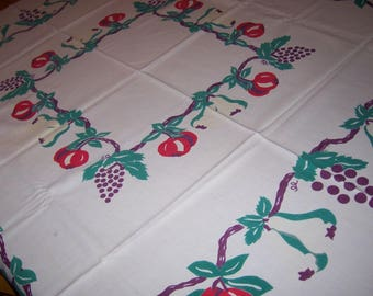 Vintage fruit tablecloth for sewing or use