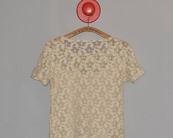 vintage lace t-shirt in cream