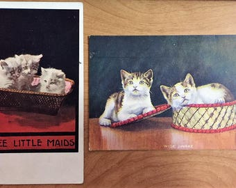 2 Antique Postcards with KITTENS