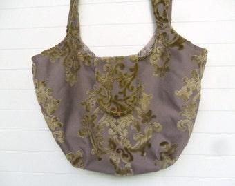 Boho Bag Purse Weekender Gold Cut Velvet on Lilac Linen
