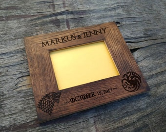 Game of Thrones Rustic wood photo frame, Wedding Wood Photo frame , Game of Thrones WOOD FRAME, Custom Wedding Photo frame wood L2-04-004