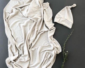 Baby Swaddle- the | Oak | Oatmeal Knit  Swaddle Blanket