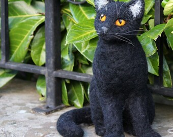 Ooak needle felted black cat