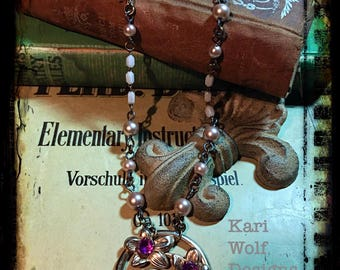 Vintage, Flower, Necklace, Purple Bouquet, Tied with a bow, reclaimed Rosary Beads, Pearls. Created By: Kari Wolf Designs