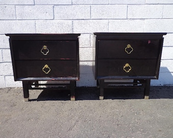 Nightstands Pair Tables James Mont Furniture Asian Bohemian BohoChinoiserie Cabinet Brass Chinese Wood Campaign Regency CUSTOM PAINT AVAIL