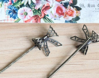 10pcs Wholesale Antique Brass Filigree Hair pins butterfly