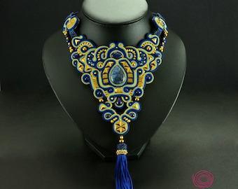 Navy Blue Tassel Necklace, Blue Soutache Necklace, Lapis Lazuli Necklace, Bridal Necklace, Unique Statement Necklace, Royal Blue Necklace