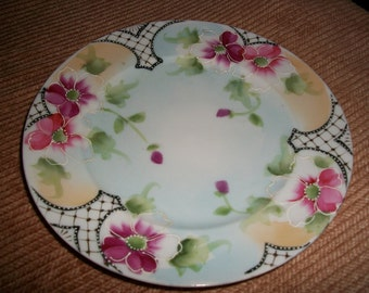 Vintage Hand Painted Porcelain Plate  / FREE SHIPPING