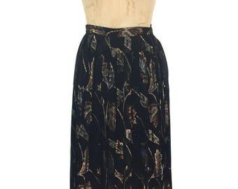 vintage 1980's mixed metal foliage skirt / Evan Picone / black metallic lurex / chiffon skirt / women's vintage skirt / tag size 10