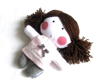 "Rag doll toy plushie baby girl kid handmade plushie softie white grey gray light pink dress clothes cuddly soft child friendly 11"" 27 cm"
