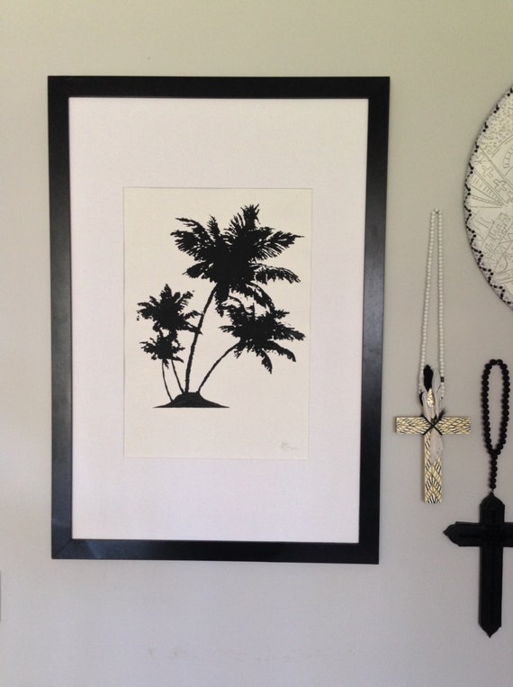 Fine art Print Palmtree A2 Black Screen-print on textured cotton Paper Limited Edition