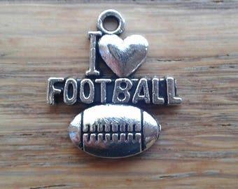 Football Charms / I <3 Football / Love Football Silver Tone Charms x 5    (A-2)