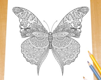 Fantastic Butterfly - Adult Coloring Page Print