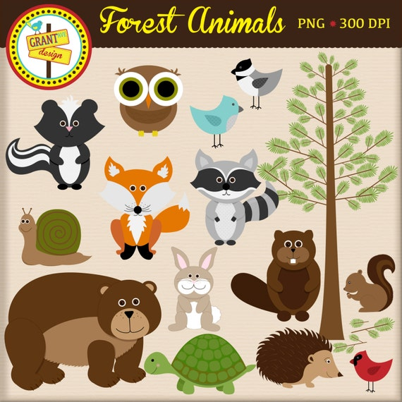 forest animals clipart woodland animals clip art cute rh etsy com jungle animals clipart jungle animals clipart pictures