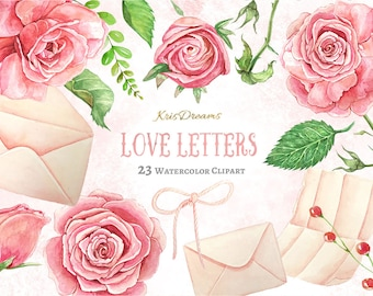 Valentine Love Letter Clip Art Watercolor Clip Art Pearl Envelope Rose Floral Wreath Border Pink Green White Shabby Chic Lace