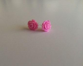 Bright Pink Resin Rose Earrings-- Hypoallergenic Rose Earrings--Bubblegum Pink Resin Roses