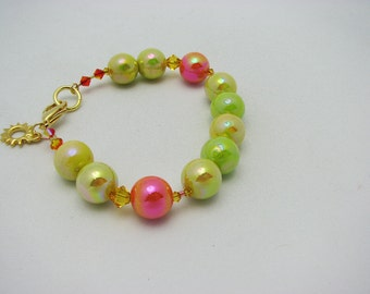 Handcrafted Bracelet. Mirror Beads Bracelet. Chunky Citrus Colored Bracelet in Lime, Lemon, and Orange Retro Style Beads. Sun Charm.