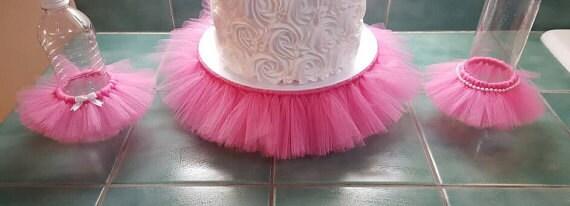 CAKE STAND TUTU Pink Cupcake Tier Tulle Skirt Princess Ballerina Decorations  Baby Shower Bridal 16 Birthday Party Wedding Centerpiece Plate