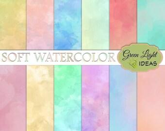 Watercolor Digital Paper, Watercolor Scrapbook Paper, Commercial Use Watercolor Paper, Pastel Digital Watercolor Background Printable