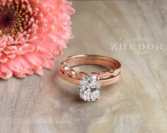 2.25 CT Oval Cut Flat Band Solitaire Engagement Wedding Ring with Milgrain Wedding band in 14k/18k Gold Bridal Set