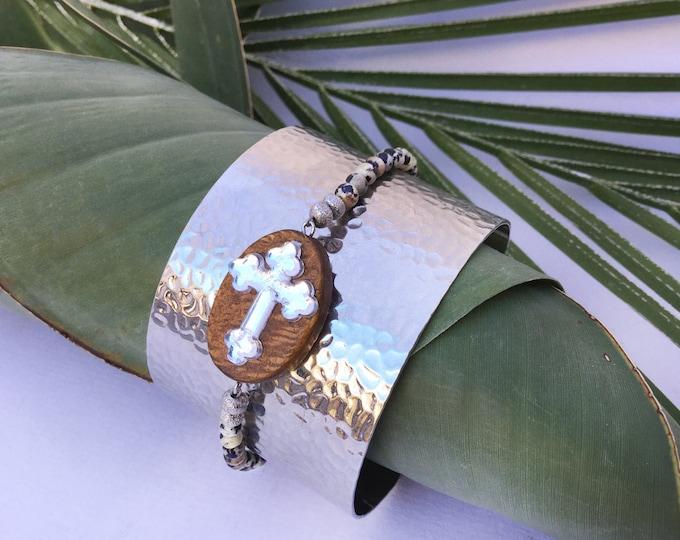 SO UNIQUE Handmade Cross Bracelet, Boho, Festival, Gypsy, Tribal, Beaded, Wood, Goddess, Hammered, Unique (It Crossed My Mind Bracelet)